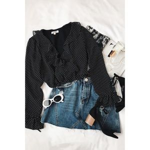 🆕 Black White Polka Dot Long Sleeve Crop Top